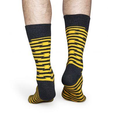 Žluté ponožky Happy Socks s šedivým vzorem Barb Wire