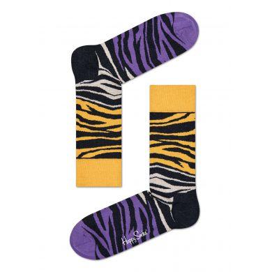 Žluto-fialové ponožky Happy Socks se vzorem Zebra