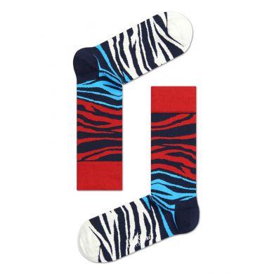 Červeno-modré ponožky Happy Socks se vzorem Block Zebra
