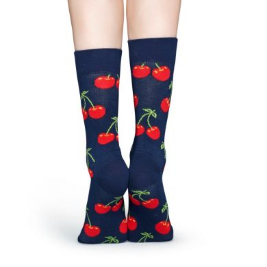 Modré ponožky Happy Socks s červenými čerešničkami, vzor Cherry