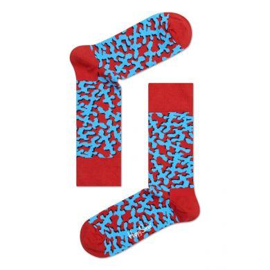 Červené ponožky Happy Socks s modrým vzorem Coral