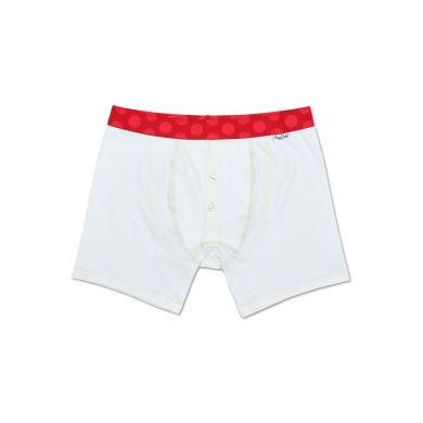 Bílé delší Solid boxerky s knoflíčky Happy Socks s červenými puntíky