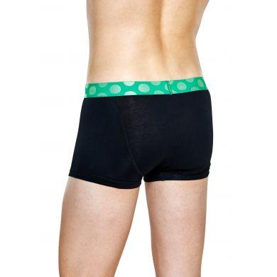 Černé Solid boxerky Happy Socks se zelenými puntíky
