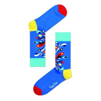 Modré ponožky Happy Socks s barevným vzorem Kurbits
