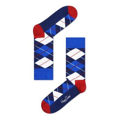 Modro-biele ponožky Happy Socks s károvaným vzorem Argyle