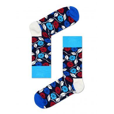Modré ponožky Happy Socks s květy, vzor Desert Flower