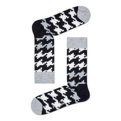 Čiernobiele ponožky Happy Socks s kohútiou stopou, vzor Dogtooth