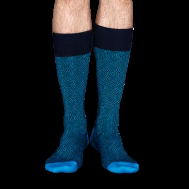 Modré ponožky Happy Socks se vzorem Divided Herringbone // kolekce Dressed