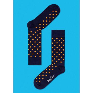 Černé ponožky Happy Socks s oranžovými tečkami, vzor Dot