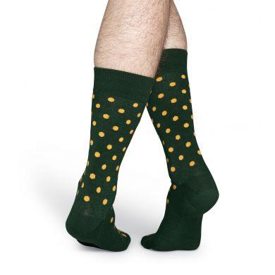 Zelené ponožky Happy Socks se žlutými tečkami, vzor Dot