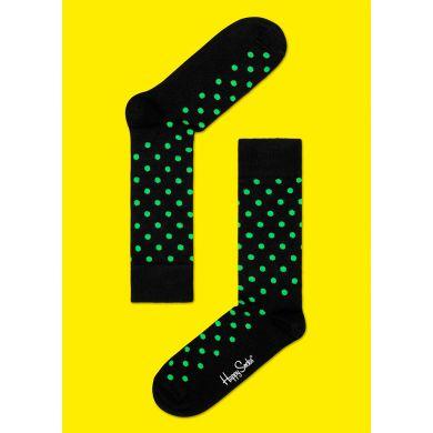 Černé ponožky Happy Socks se zelenými tečkami, vzor Dot