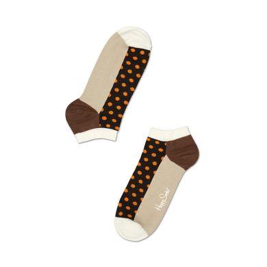 Nízké hnědé ponožky Happy Socks s oranžovými tečkami, vzor Dot