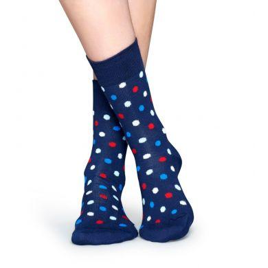 Modré ponožky Happy Socks s farebnými bodkami, vzor Dot