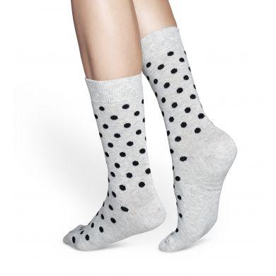 Šedé ponožky Happy Socks s černými tečkami, vzor Dot