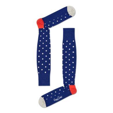 Modré kompresné podkolienky Happy Socks s bielymi bodkami, vzor Big Dot