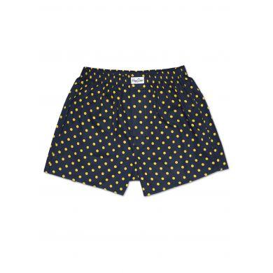Černé trenýrky Happy Socks se žlutými tečkami, vzor Dot