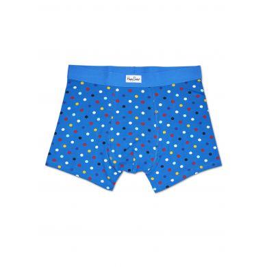 Fialové boxerky Happy Socks s barevnými trojúhelníky, vzor Random Triangle