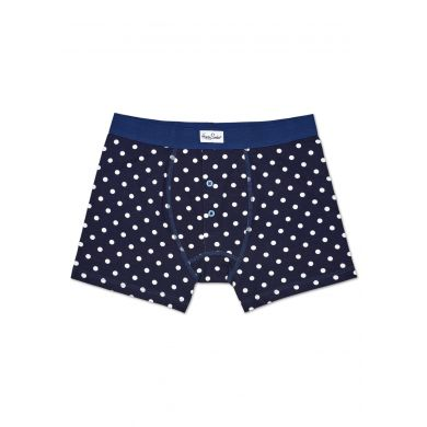 Tmavě modré boxerky Happy Socks s bílými tečkami, vzor Dot