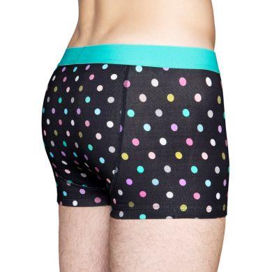 Čierne boxerky Happy Socks s farebnými bodkami, vzor Dot