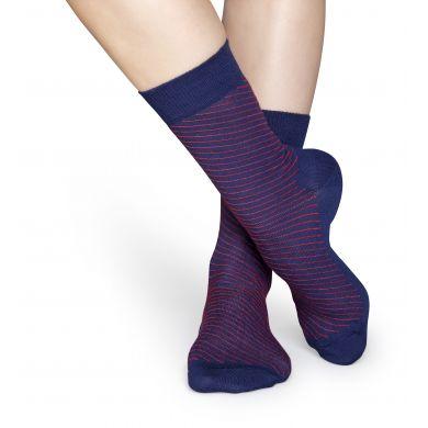 Modré ponožky Happy Socks se šikmými červenými proužky