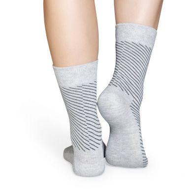 Šedé ponožky Happy Socks se šikmými černými proužky