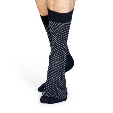 Černé ponožky Happy Socks se šikmými bílými proužky