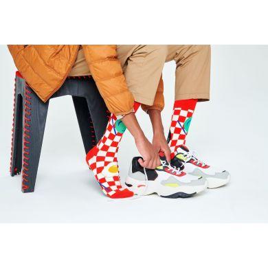 Červeno-biele ponožky Happy Socks s vajíčkom, vzor Early Bird