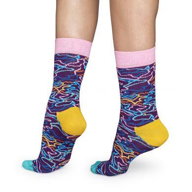 Fialové ponožky Happy Socks s barevným vzorem Electric