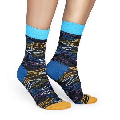 Šedivé ponožky Happy Socks s barevným vzorem Electric