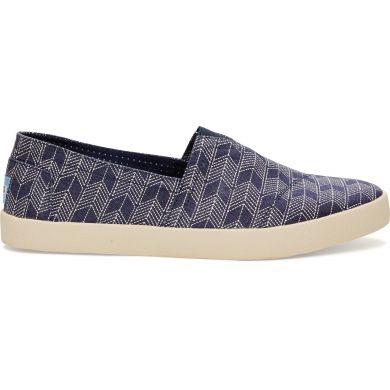 Modré pánské TOMS Avalon Slip-on s japonským vzorem