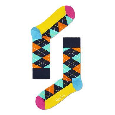 Oranžovo-tyrkysové ponožky Happy Socks s károvaným vzorem Argyle