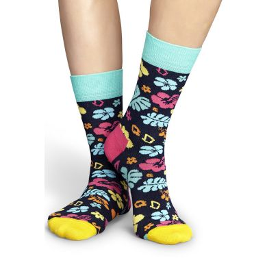 Barevné ponožky Happy Socks s havajskými květy, vzor Hawai