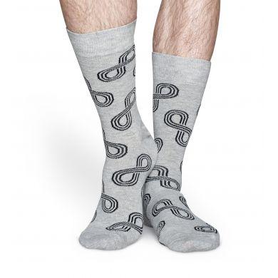 Šedé ponožky Happy Socks s barevným vzorem Eternity