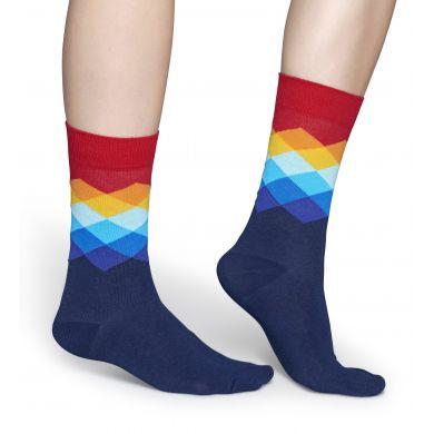 Modro-červené ponožky Happy Socks s barevnými kosočtverci, vzor Faded Diamond