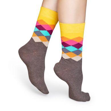 Farebné ponožky Happy Socks s kosočtvorcov, vzor Faded Diamond