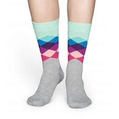 Šedo-tyrkysové ponožky Happy Socks s barevnými kosočtverci, vzor Faded Diamond