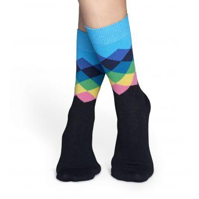 Modro-černé ponožky Happy Socks s farebnými kosoštvorcami, vzor Faded Diamond
