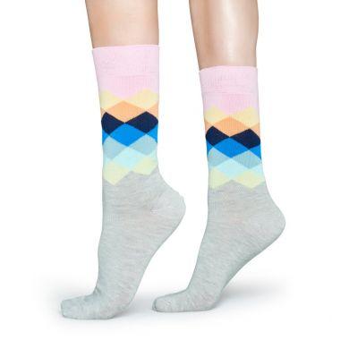 Farebné ponožky Happy Socks s kosoštvorcami, vzor Faded Diamond
