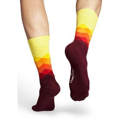 Žluto-vínové ponožky Happy Socks s barevnými kosočtverci, vzor Faded Diamond