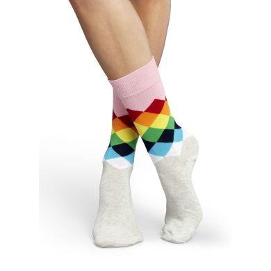 Šedo-růžové ponožky Happy Socks s barevnými kosočtverci, vzor Faded Diamond