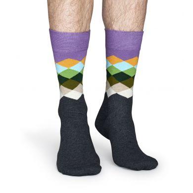 Černé ponožky Happy Socks s barevnými kosočtverci, vzor Faded Diamond