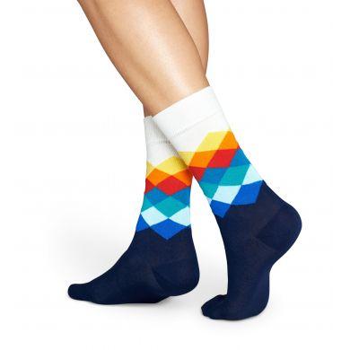 Modro-biele ponožky Happy Socks s farebnými kosoštvorcami, vzor Faded Diamond