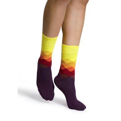 Žluto-fialové ponožky Happy Socks s barevnými kosočtverci, vzor Faded Diamond