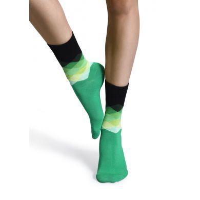 Zeleno-černé ponožky Happy Socks s kosočtverci, vzor Faded Diamond