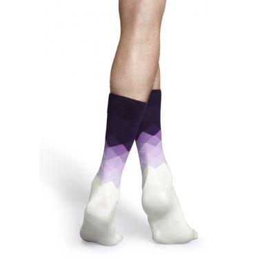 Bílo-fialové ponožky Happy Socks s kosočtverci, vzor Faded Diamond
