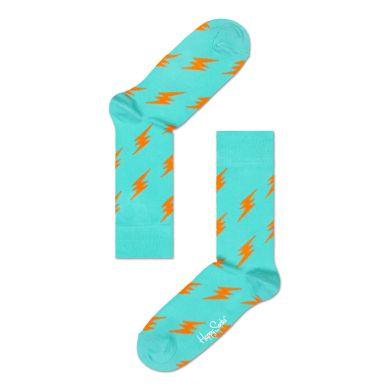 Tyrkysové ponožky Happy Socks s oranžovými blesky, vzor Flash