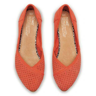 Červené dámské semišové balerínky TOMS