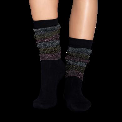 Černé ponožky Happy Socks s barevnou aplikací, Samba // kolekce Special Special