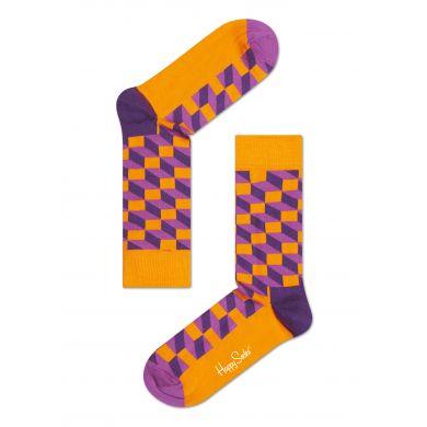 Oranžové ponožky Happy Socks s fialovým vzorem Filled Optic