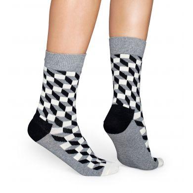 Sivé ponožky Happy Socks s čiernobielym vzorom Filled Optic